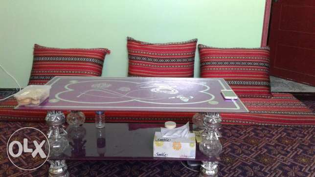 Omani Majlis & Fancy glass table with 2 chairs & 1 fancy Mirror