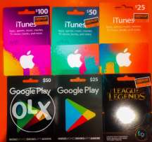 iTunes cards,google play,steam , league of legends all available