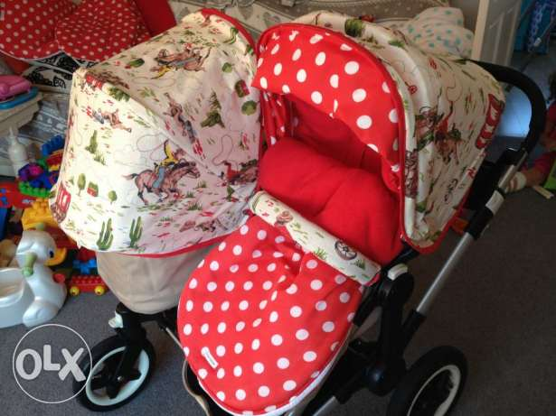 discount offer on Bugaboo Donkey Duo Black/Pink Standard Double Seat