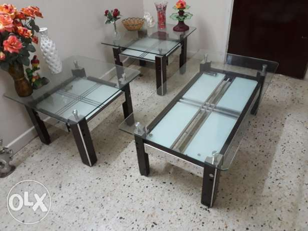 Glass top centre tables 3 Nos - At Alkhuwair