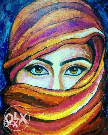 """""""Arab Beauty""""Original textured knife painting on canvas. Size 60x80cm"""