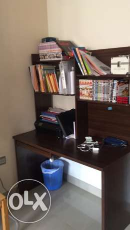 study desk with book racks