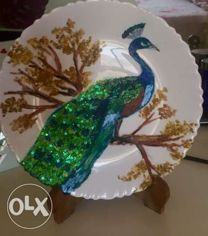 painted plate with stand