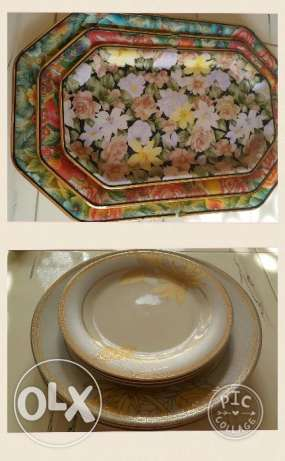 Dinner plates set with 3 FREE trays