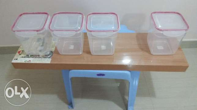 Buy 3 ,take 4 Brand New air tight container + wall shelf + bench chair