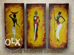 african womans oil painting tableau