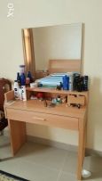 Bed 2 side tables and mattress, 6 door cupboard, dressing table