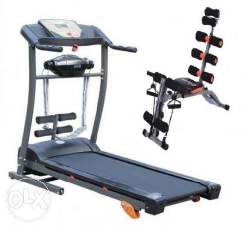 Treadmill with massage and six pack bench