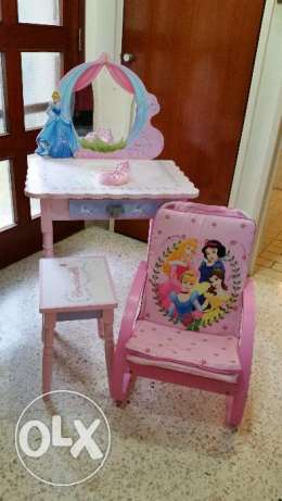 Princess Dressing table, stool and rocking chair