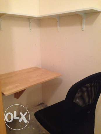 desk, chair and shelves