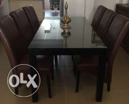 Home Centre Solid Wood Black Glass Table