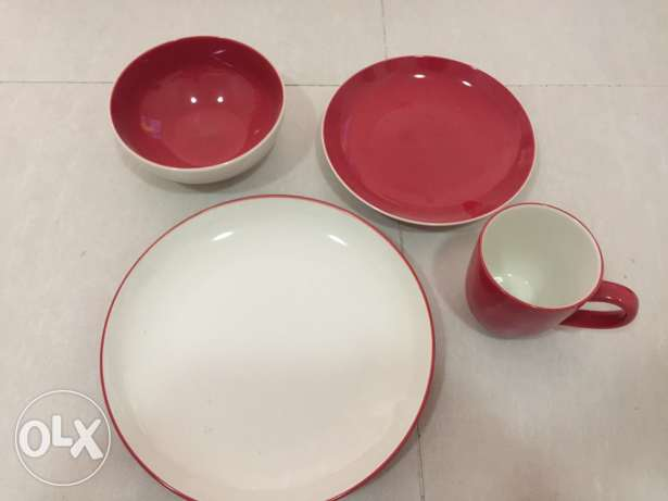 Home centre 4 piece red dinner