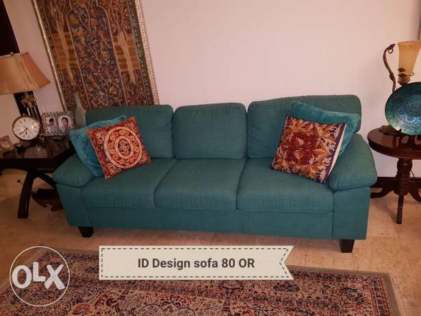 Sofa and console table with mirror