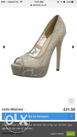 NEW IN BOX Little Mistress Polly Grey Lace Overlay Stilletos SIZE 41