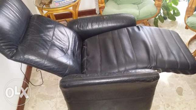 chair reclining leather type black