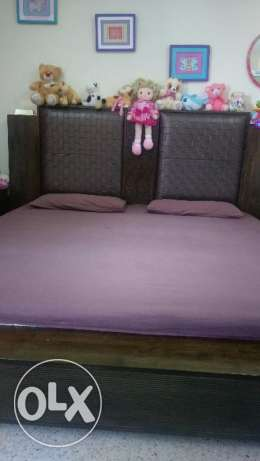 Solid Wood King size bed with two side table and Mattress