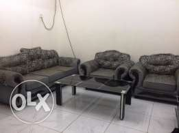 Sofa Set 3+1+1 seater with glass center table