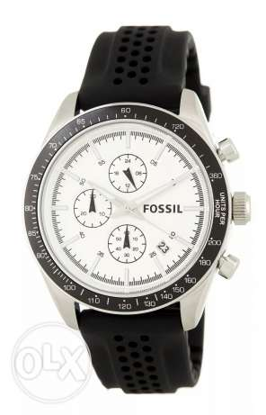 Brand New FOSSIL Silver Chronograph Silicone ساعة رجالي