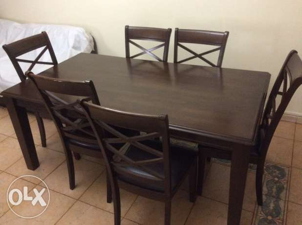 Six seater dining table with chairs