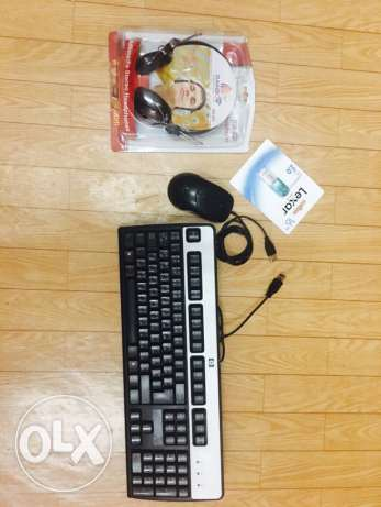 hp keyboard,mouse,head phone with mic and 16GB flash drive.