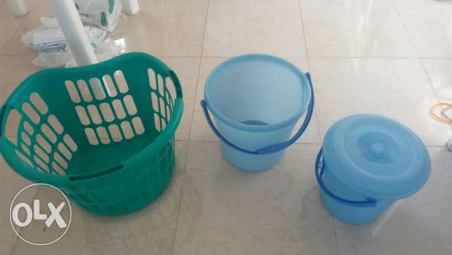 Laundry basket and two buckets
