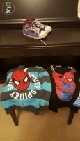 A set of spiderman T-shirt and jacket with free Marks & Spencers shoes