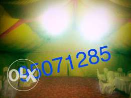 for rent:- Tent,decor,house light, 20 vip chair all to getter 250 OMR