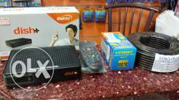 New dish tv receiver+3 months recharge(south)+LNB+Cable+Dish antenna