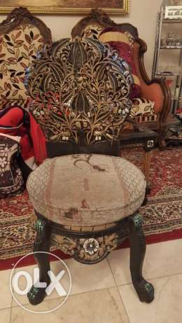 Beautiful traditional handicraft chair and table set