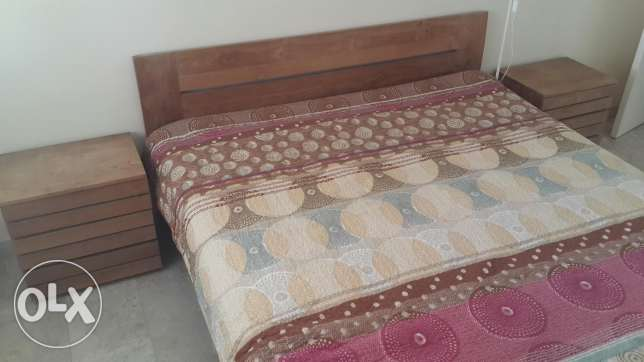 MARINA. Oak Solid Wood king size bed with 2 bedside chests