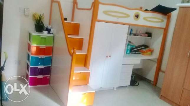 kids bunk bed with wardrobe study table and storage