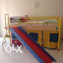 Colourful children's bunk bed with Slide