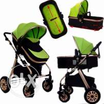 New Strong Aluminium Frame 4 Wheel Folding Baby Pram/Stroller With Bas