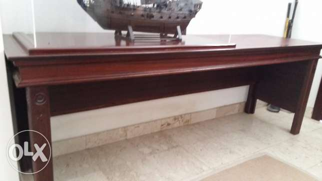 Solid dark wood leather top table for sale