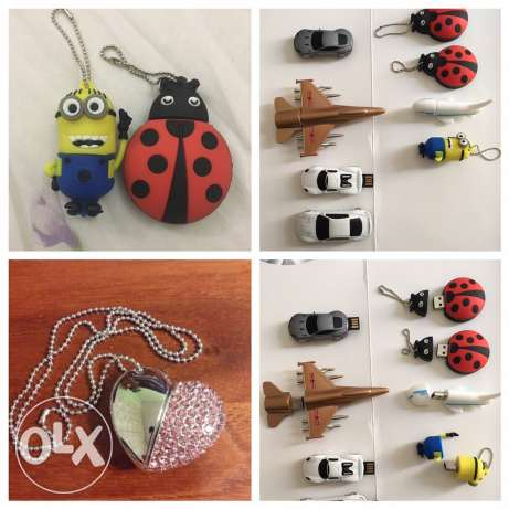 Usb flash 8gb heart shape, car,minions and ladybug