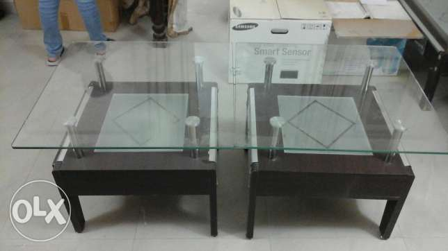 Glass table + 2 side tables مسقط -  2