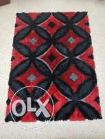 Black & red furry carpet (Large & small) - Made in turkey
