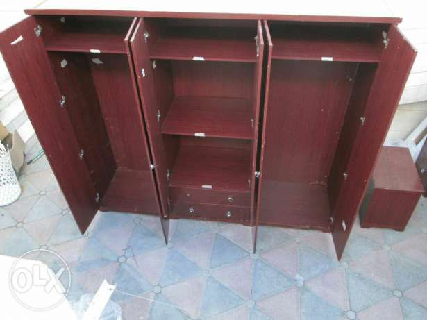 Set of furniture : wardrobe with 6 doors, king size bed, dresser, stoo