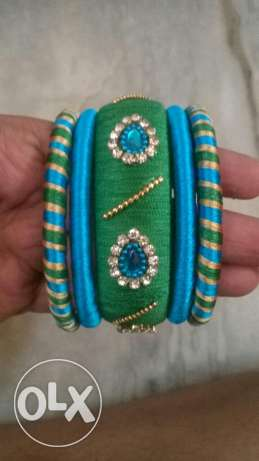 Ear rings and bangles silk thread روي -  5