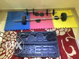 Dumbbells , bar and weights