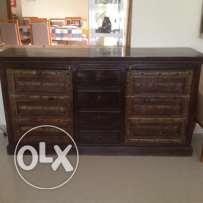 Cupboard cabinet buffet with 2 authentic antique Omani windows