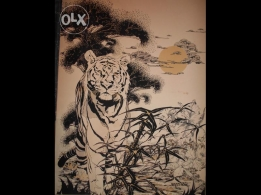 Tiger printed on canvas Size: 160cm/117cm