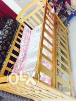 Baby cot with Cot Bed + 2 baby bed+ pillow + baby mat + 2 Bag