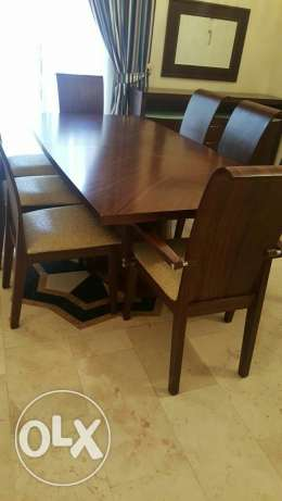 Dining table with side table and mirror