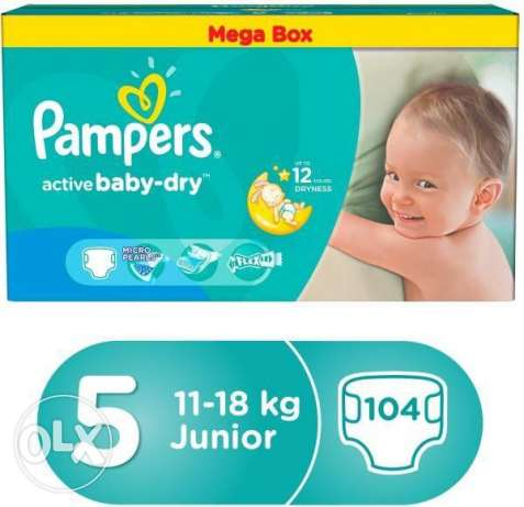 pampers mega box... size 5...104 diapers