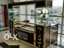 Silver jewellery counter with jewelleries