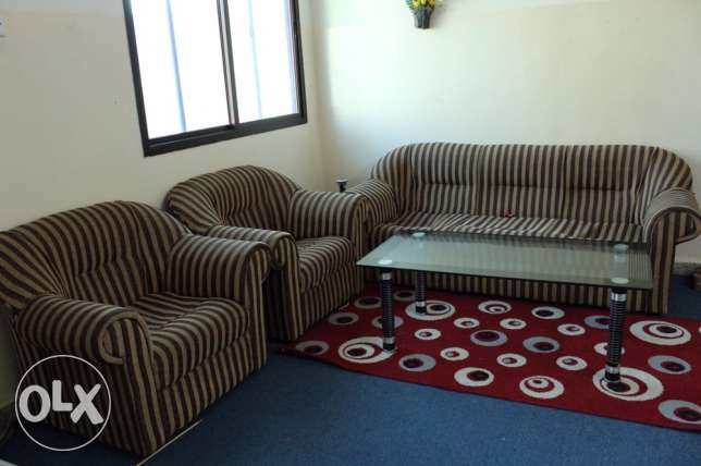 Sofa Set With Glass Table And Carpet