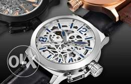 Mens Vintage Military Silver Dial Automatic Self-Wind Skeleton Watch