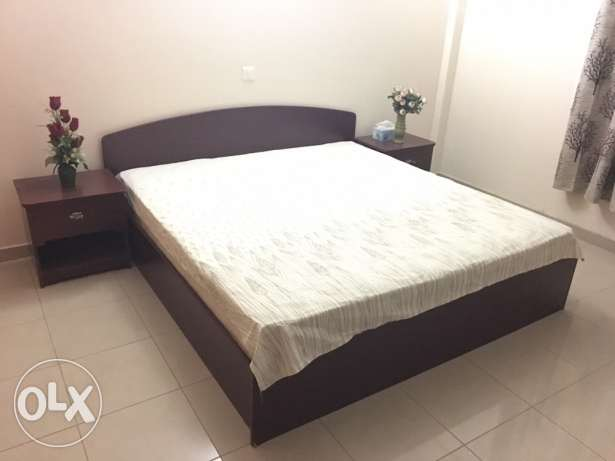 Double Bed Set 6x6 - Burgundy, with 2 Side Tables & Mattress