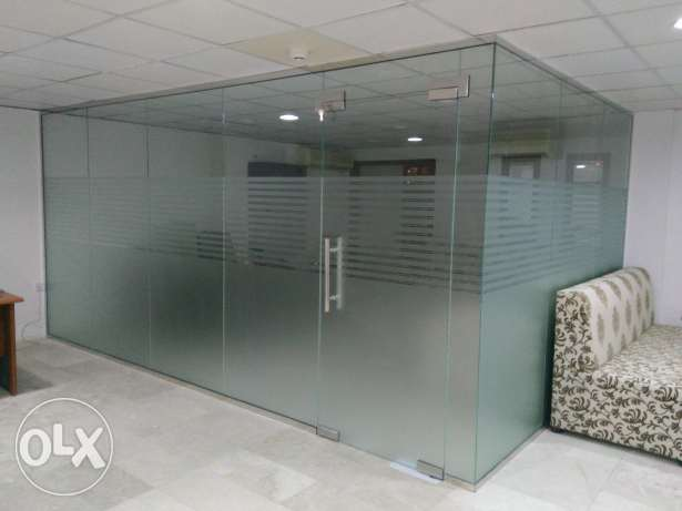 Glass partitions And shelf